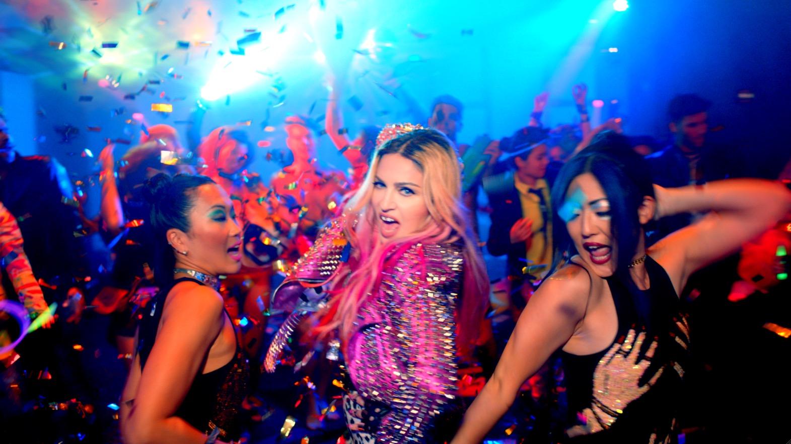 "Madonna Wrangles Beyoncé, Kanye West, Katy Perry, Chris Rock, Nicki Minaj, Miley Cyrus, & More for ""Bitch I'm Madonna"" Music Video"